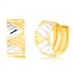 Earrings in 14K gold - wider circle with triangles made of white and yellow gold