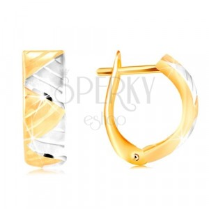 Earrings in 14K gold - arc with triangles made of white and yellow gold