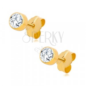Earrings in 585 yellow gold - round clear zircon in a mount, 4 mm