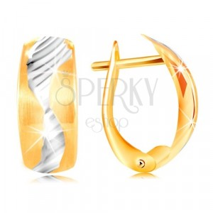 Earrings made of 14K gold - matt arc decorated with a small wave made of white gold