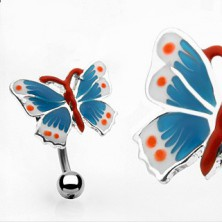 Colorful butterfly belly ring