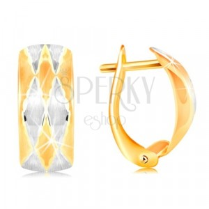 Earrings in 14K gold - matt arc decorated with rhombuses, yellow and white gold