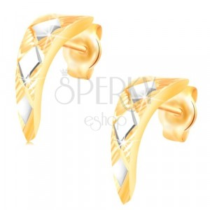 Gold 14K earrings - shiny narrowed arc with rhombuses in white gold