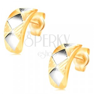 14K gold earrings – shiny arc with rhombuses made of white gold with cuts