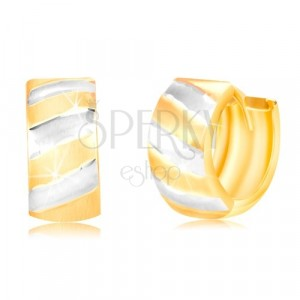 Hinged hoop earrings in 14K gold – circle with matt stripes in two colours