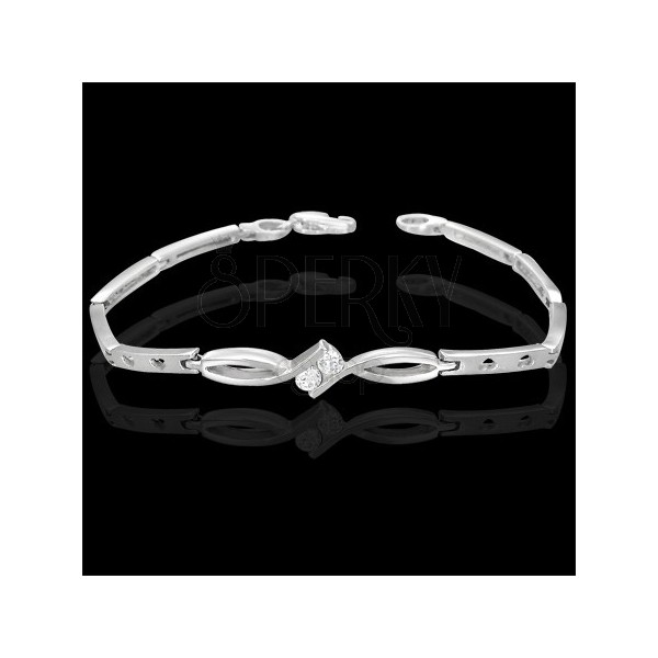 Ladies bracelet with two zircons in knot decoration