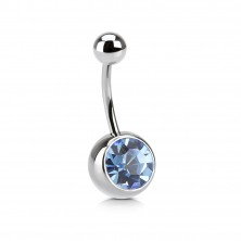 Belly button ring with big Swarovski crystal