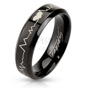 Stainless steel band in black colour - heart and cardiogram, 6 mm