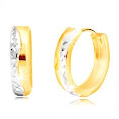 Round 14K combined gold earrings - cut wavy line
