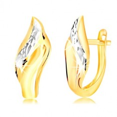 14K gold earrings - leaf with decorative cut line made of withe gold