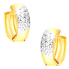 Combined 14K gold round earrings - strings in white gold