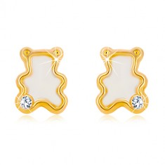 Yellow 14K gold earrings – bear with natural mother-of-pearl and zircon