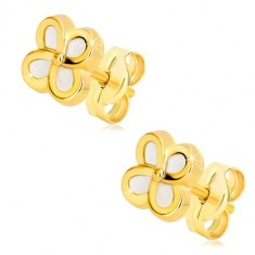 Yellow 14K gold earrings – flower with four petals and mother-of-pearl, studs