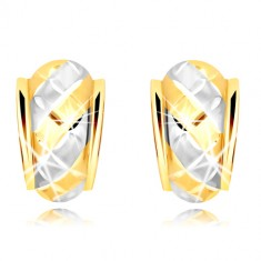 585 gold earrings – an asymmetric matte arch with two-colour strips and lattice