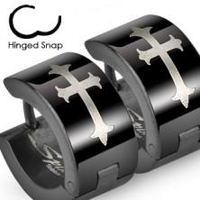 Black steel earrings with lily cross in silver hue