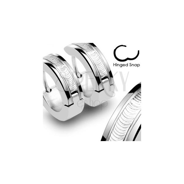 Earrings made of surgical steel - silver colour with decorative stripe