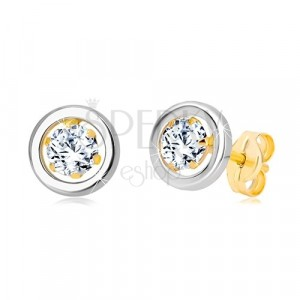 Earrings made of 14K gold - round zircon in mount and circle of white gold