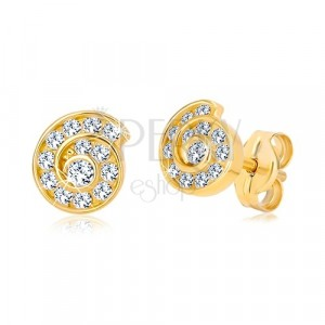 Yellow studs of 14K gold - spiral inlaid with zircons
