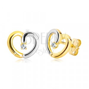 Stud earrings of 14K gold - two-colour contour of heart with zircon