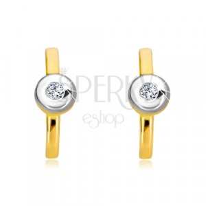 Diamond 14K gold earrings - strip with brilliant in mount of white gold