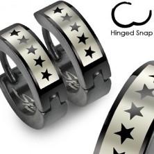 Black surgical steel earrings - star pattern