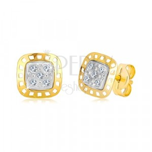Earrings made of combined 585 gold - two-colour square with zircons