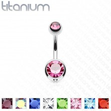Titanium belly piercing - balls with cut zircons, length 8 mm