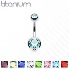 Titanium belly piercing - balls with glittery zircons, length 12 mm