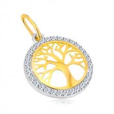 Combined 14K gold pendant - circle of  life tree, glittery zircons