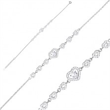 925 silver bracelet - a series of zircon hearts, bigger heart and zircon