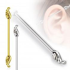 316L steel ear piercing of tragus - angel wings, 1,2 mm