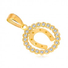 Yellow 14K gold pendant - zircon circle and horse-shoe for hapiness