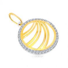 585 gold pendant - double line of zircon ringlet of white gold