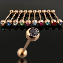 Piercing in gold colour with colourful zircon