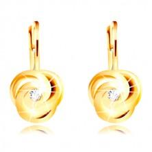 Earring of yellow 14K gold - three spirally bent petals, round zircon