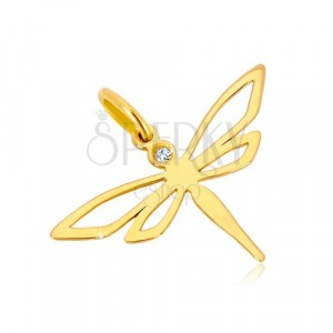 Yellow 585 gold pendant - glossy dragonfly with carved wings, zircon