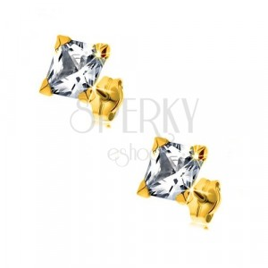 Yellow 9K gold earrings - glittery square zircon of clear colour, 6 mm