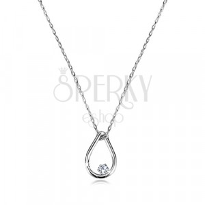 Brilliant necklace of white 9K gold - tear contour with diamond, fine chain