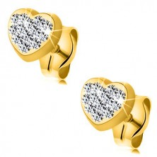 Yellow 9K gold earrings - symmetric heart inlaid with Swarovski crystal