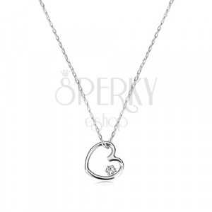 Brilliant necklace of white 9K gold - symmetric heart with diamonds