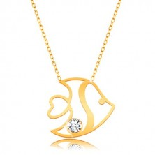 Necklace in 14K yellow gold - a shiny fish with cuts and zircons, thin chain