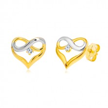 Earrings in 14K combined gold - heart contour, INFINITY symbol, zircon