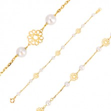 585 yellow gold bracelet - decoratively carved flowers, pearls