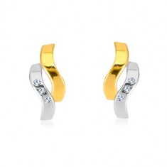 Earrings in 14K combined gold - two wavy lines, tiny zircons