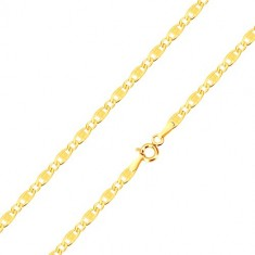 14K gold bracelet - elongated eyelets with cuts and rectangles, oval eyelets, 210 mm