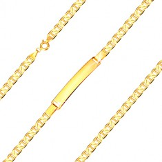 Bracelet with a plate made of 585 yellow gold - flat eyelets with stick, 190 mm