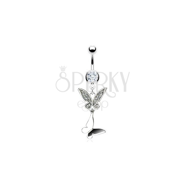 Double butterfly belly button ring with zircons