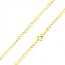 585 gold bracelet - oval eyelets with shiny surface, 190 mm