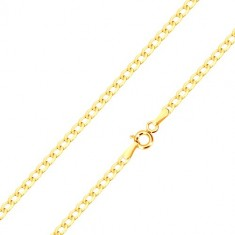 585 gold bracelet - oval eyelets with shiny surface, 190 mm