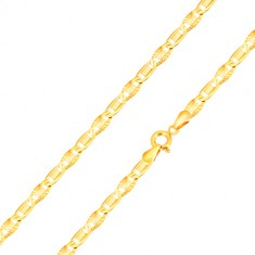 14K gold bracelet - elongated eyelets with a rectangle, eyelets with radial cuts, 200 mm